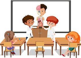 junge Studenten, die die menschliche Anatomie in der Klassenzimmerszene erklären vektor