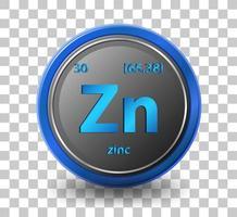 zink kemiskt element. kemisk symbol med atomnummer och atommassa. vektor