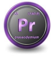 praseodymium kemiskt element. kemisk symbol med atomnummer och atommassa. vektor