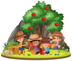 barn som arbetar i trädgården vektor