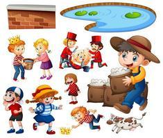 uppsättning av olika barnkammar karaktär isolerad på vit bakgrund vektor