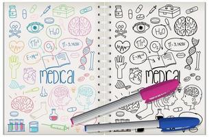 uppsättning medicinsk element doodle på anteckningsboken vektor