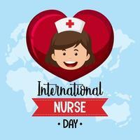 internationell sjuksköterskedagdesign med söt sjuksköterska i hjärtat på världskartabakgrund vektor