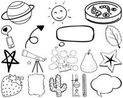 Satz von Wissenschaft und Naturgegenständen und Symbolen handgezeichnetes Gekritzel vektor