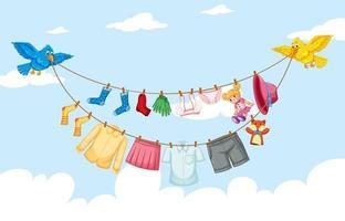kläder hängande på linje med himmel bakgrund vektor