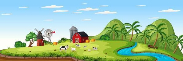 gårdslandskap med djurgård och röd ladugård under sommarsäsongen vektor