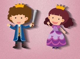 kleiner Ritter und Prinzessin Zeichentrickfigur auf rosa Hintergrund vektor