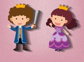 liten riddare och prinsessa seriefigur på rosa bakgrund vektor
