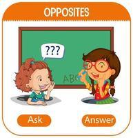entgegengesetzte Wörter mit fragen und antworten vektor