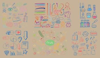 uppsättning färgglada objekt och symbol handritad klotter vektor