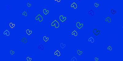 ljusblå, grön vektorbakgrund med söta hjärtan.