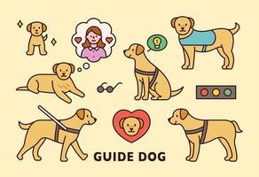 söt blind guide hund ikon.
