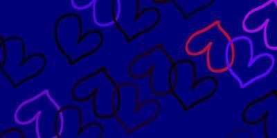 hellrosa, roter Vektorhintergrund mit leuchtenden Herzen.