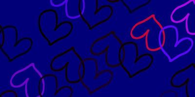ljusrosa, röd vektorbakgrund med glänsande hjärtan.