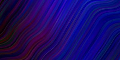 dunkelrosa, blauer Vektorhintergrund mit gekrümmten Linien.
