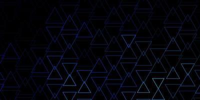 mörkblå vektormall med kristaller, trianglar.