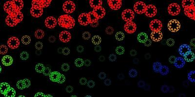 dunkles mehrfarbiges Vektorlayout mit Kreisformen.