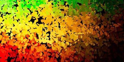 mörkgrön, gul vektormall med abstrakta former.