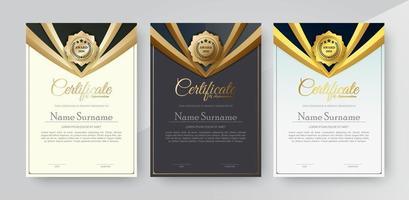 uppskattningscertifikat bästa utmärkelsen diplomuppsättning vektor