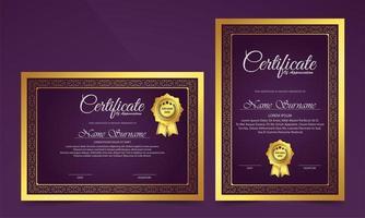 Luxus lila Zertifikat klassisches Design Stil Set vektor