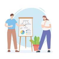 Coworking, Geschäftsmann und Geschäftsfrau mit Report Board Präsentation