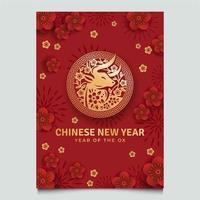 kinesiska nyåret gyllene ox affisch vektor