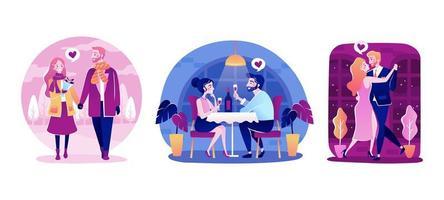 romantiska par firar alla hjärtans dag vektor