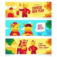süßes Ochsenchinesisches Neujahrskonzeptbanner vektor