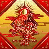 chinesisches Neujahr 2021 Ochsenpapier-Schnittkonzept vektor