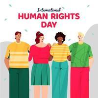 internationale Menschenrechte mit einer Gruppe verschiedener junger Menschen vektor