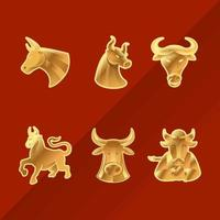 kinesiskt nyår gyllene oxklistermärke vektor