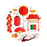 kinesiska nyåret Ikonuppsättning vektor