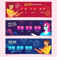 Frauen zeigt Neujahr Countdown Banner Konzept vektor