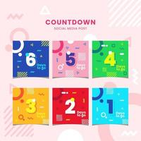 Satz flache geometrische lebendige Farbe Countdown Social Media Post vektor