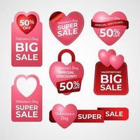 etiketter för alla hjärtans dag marknadsföring vektor