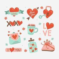 söt hand dras alla hjärtans dag klistermärke vektor