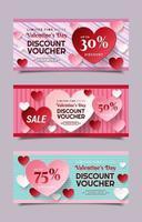 Valentinstag Rabatt Gutscheinvorlagen vektor