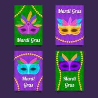 mardi gras mask och pärlor kort samling