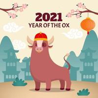 süßer Ochse, der traditionellen chinesischen Hut trägt vektor