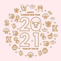 Gold minimalistische Linie chinesische Festival Set Ikone vektor
