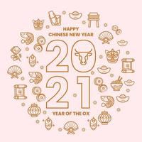 guld minimalistisk linje kinesisk festival set ikon vektor