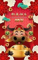 gott kinesiskt nyår gyllene oxaffisch del 02 vektor