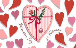 lebendige Valentinstagherzform mit Bogen und Blume vektor