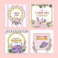 lila Valentinstag Blumengrußkarte vektor
