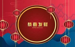 roter und blauer Gong xi fa cai Hintergrund vektor