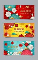 gong xi fa cai kinesiska nyårsbannrar vektor