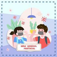 Junge und Mädchen machen neues normales Protokoll vektor