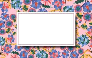 naturlig blommig bakgrund med vit ram i mitten