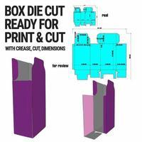 Box gestanzte Würfelvorlage mit 3D-Vorschau, organisiert mit Schnitt, Falte, Modell und Abmessungen vektor