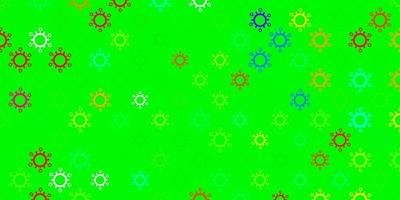 dunkelgrünes Vektormuster mit Coronavirus-Elementen.